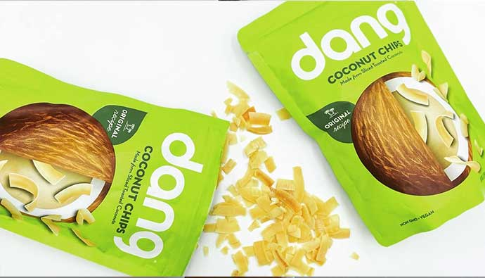 Front of Dang Coconut Chips Bag