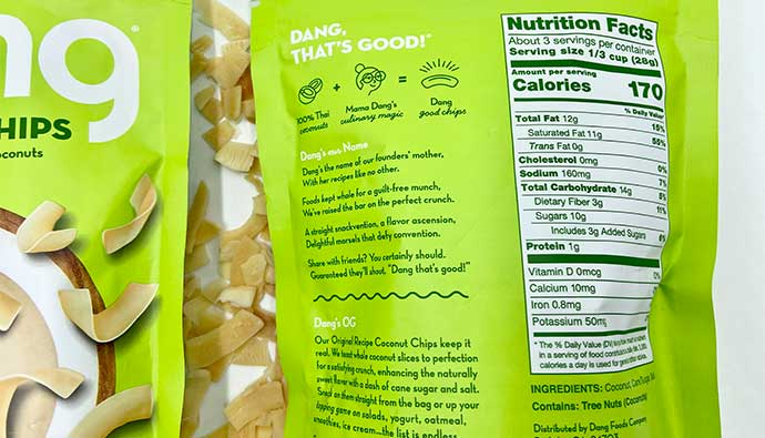 Nutrition Facts for coconut chips